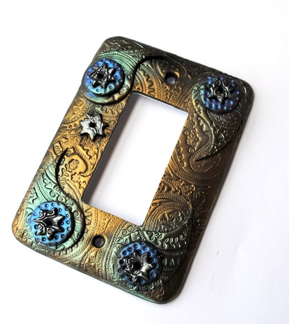 Five Stars and Paisley, one of a kind, single Decora switchplate, light switch cover, ornate design, Indian inspired