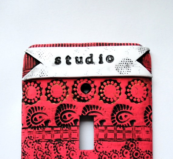 Labeled Series, Studio, one of a kind, light switch cover, switch plate, wallplate, whimsical, pink, polymer clay