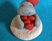 Clay Manatee with triple red hearts - Treasury Item -statue