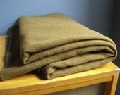 SALE - Green Wool - Vintage Army Blanket