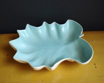 Aqua Leaf Platter or Tray - Vintage Pottery - Cream and Teal