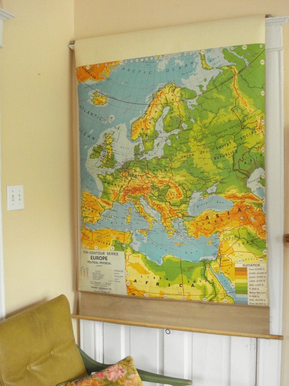 SALE - Vintage Pull Down School Map - 1940s Semi-Contour of Europe