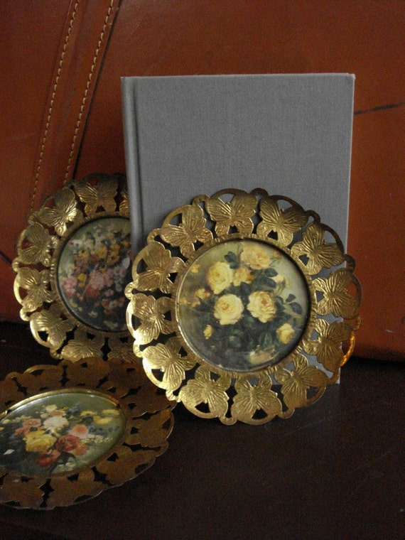Small Brass Frames - Set of Three Vintage Picture Frames - Made in England