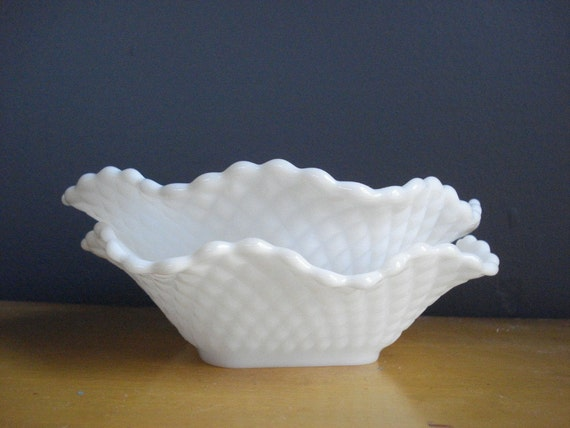 SALE - Milky Pair - the Sweetest set of Two Milkglass Bowls - Patterned Milk Glass Bowl