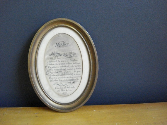 SALE - Tiny Brass Frame with Mother Saying - Vintage Oval Frame with Old Mother Gift Plaque