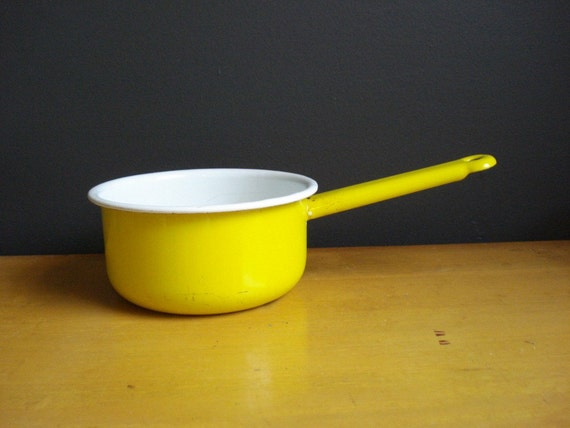 Bright Spot of Yellow - Vintage Enamel Saucepan