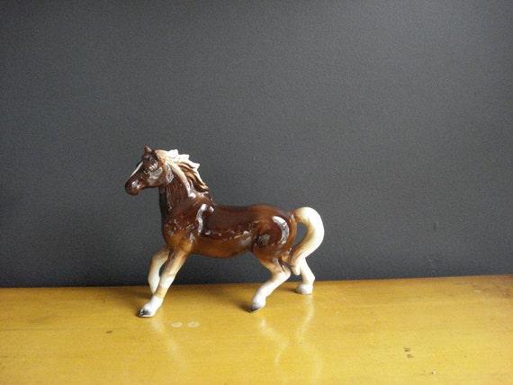 SALE - Western Porcelain - Vintage Ceramic Horse Figurine