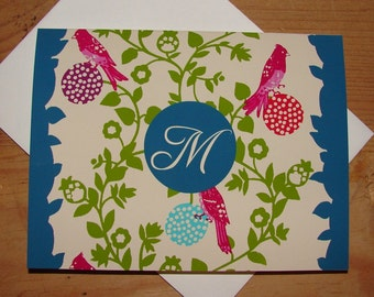 Bird Personalized Monogrammed Note Cards (8)