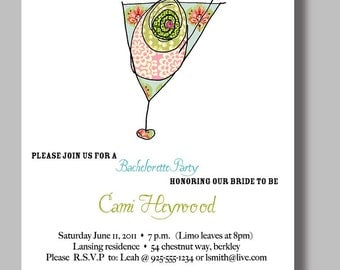 Bling Bachelorette Party Invitations Jeweled Martini - Set of 12