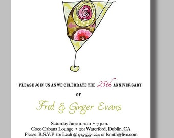 Anniversary Party Invitations Jeweled Martini - Set of 12