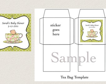 DIY Printable Tea Bag Cover Template - A Baby's Brewing or Tea for Two