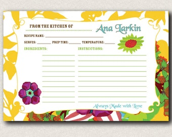 """Personalized Floral Recipe Cards - (24) 4"""" x 6"""""""
