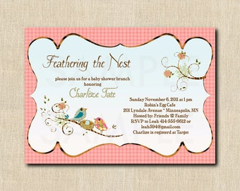 Love Birds Nesting Shower Invitation - 12 printed invitations - choose your background