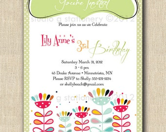 Whimsy Flowers Party Invitation - Birthday, Bridal, Graduation, Anniversary, New Baby