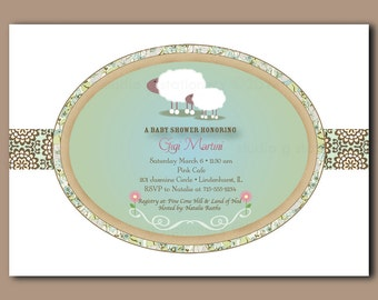 Little Lamb Baby Shower Invitations - Digital - Your Print - DIY - Printable