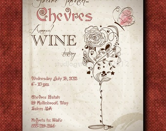 Rose Wine Glass Invitation -  Invitations -PRINTED INVITATIONS - Sold in packs of 10 includes envelope