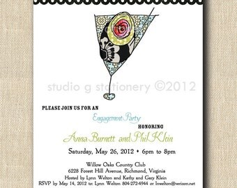 Whimsical Martini Glass Announcement Invitation