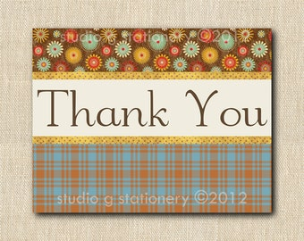 Flowers and Plaid Thank You Cards - 12 folded cards