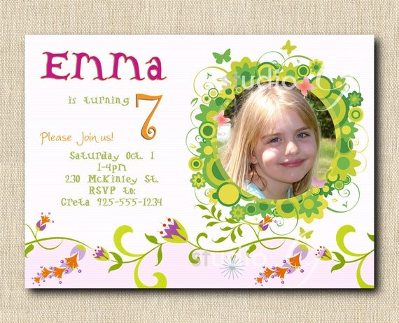 DIY Birthday Girl Photo Invitation - Tulips, Flowers and Butterflies DIGITAL DIY