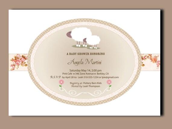 little lamb baby shower invitations 24