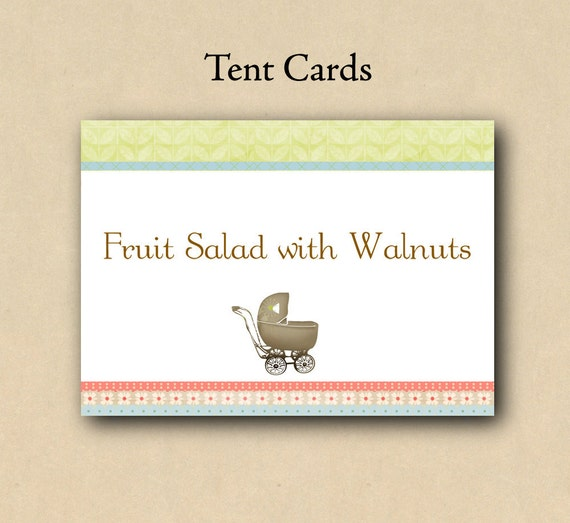 Baby Shower Tent Cards / Place Cards - Use for place settings, dessert cards, food labeling etc...