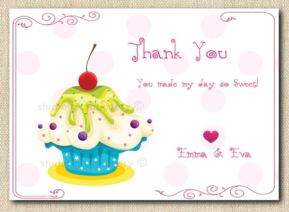 Fancy Cupcake Thank You Cards - 12 folded cards