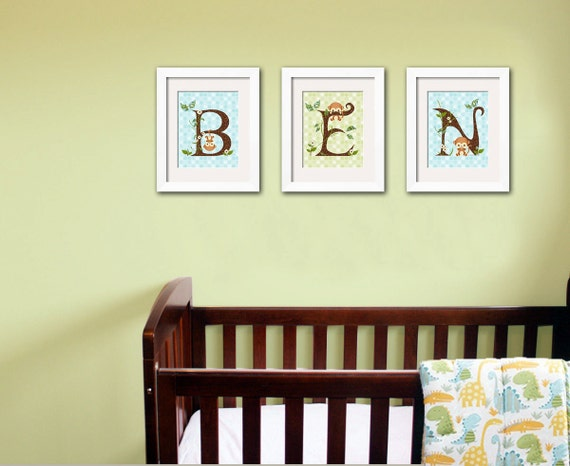 Jungle Wall Decor For Nursery : Jungle monkey wall art baby nursery prints custom letter