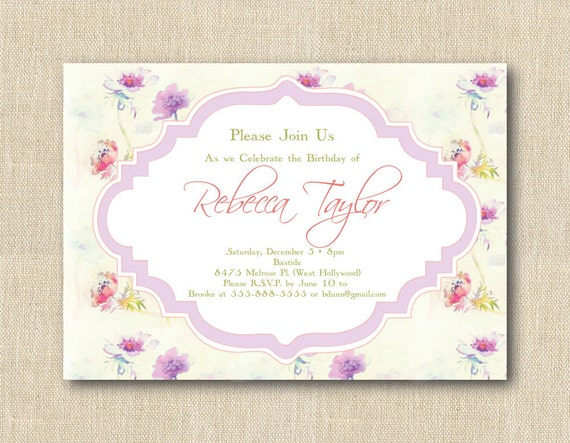 Lavender Dreams CLASSIC Party Invitation - Custom & Personalized PRINTED INVITATIONS - Sold in packs of 10 includes envelope