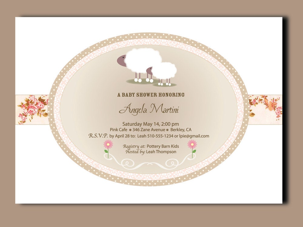little lamb baby shower invitations invitations printed