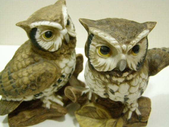 Reserved for Pookas Owl Figurines by Homco vintage pair