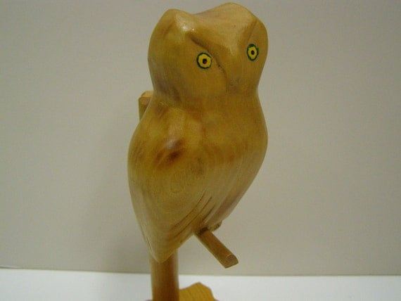 Vintage Carved Wood Owl on a Stand