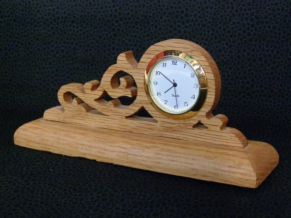 Vintage Handmade Wooden Desk Clock