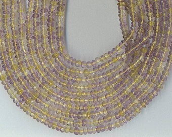 "14"" Strand 4mm FACETED AMETRINE RONDELLE Beads"