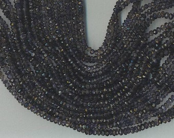 """14"""" Strand 4mm Faceted Iolite Rondelle Beads"""