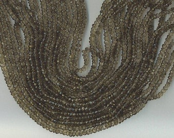 "14.25"" Strand 4mm FACETED SMOKY QUARTZ Rondelle Beads"