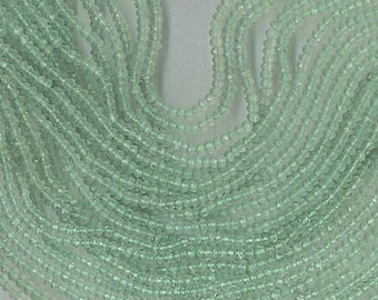 """14"""" Strand 4mm Faceted GREEN AMETHYST RONDELLE Beads"""