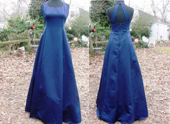 Lovely Midnight Blue 80's Evening Gown by Urban Girl Nites Estmated Size 6 80s Prom Dress Vintage Prom Dress Vintage Evening Gown