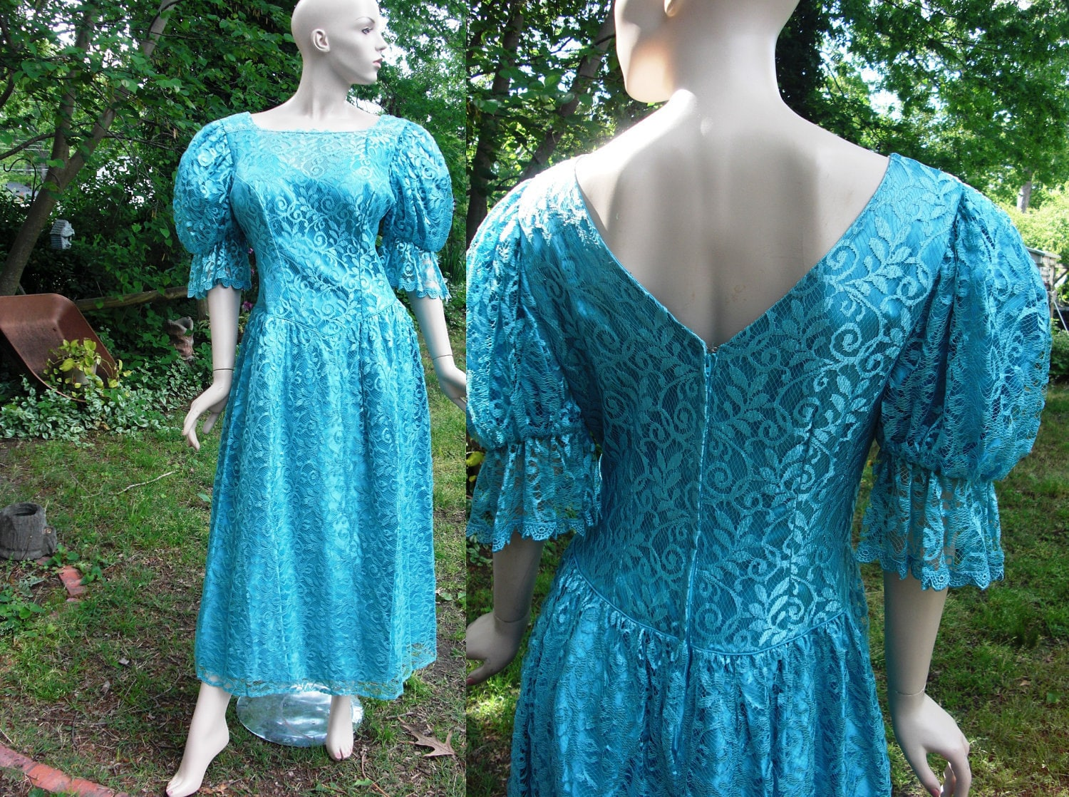 Plus Size 80's Prom Dress in Turquoise with Lace Overay by | 1500 x 1118 jpeg 580kB