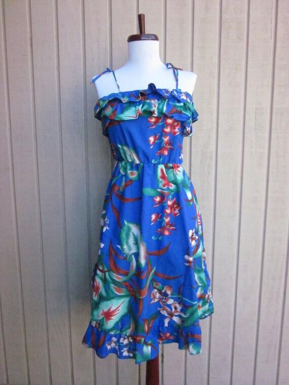 STOREWIDE SALE vintage vibrant blue royal hawaiian tropical dress