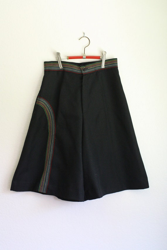 STOREWIDE SALE vintage 70s OUTRAGE black and rainbow high waisted gauchos