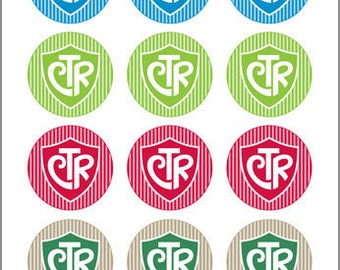 CTR (shield & stripe design) - 2 inch Graphic Rounds in Printable 8x10 Collage Sheet