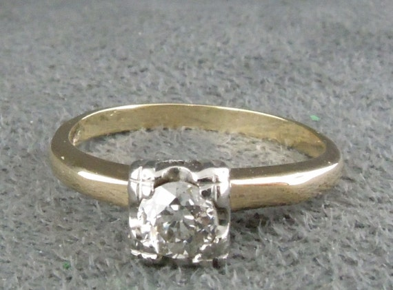 Vintage Estate Diamond Engagement Ring 14K Yellow Old European Cut Qtr Ct