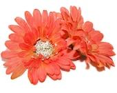 2 Salmon Peach Gerbera Silk Daisies - Artificial Flowers, Silk Flower Heads