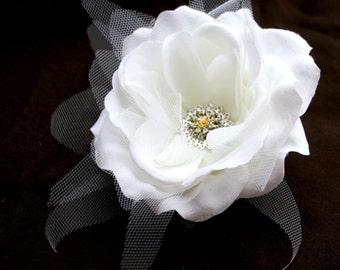 1  Cream White Silk Rose - Bridal -
