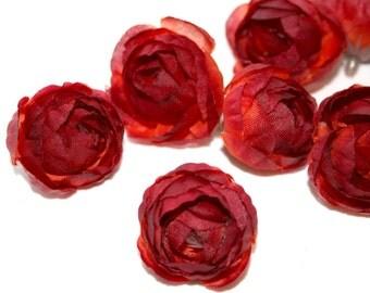 10  Mini Red Orange Ranunculus
