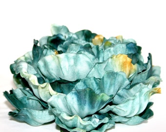 1 ENORMOUS Turquoise Blue Peony - Fabulous - Silk Flower Heads - PRE-ORDER