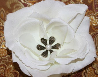 The Budget Bridal - 1 Creamy White Silk Rose - Embellished