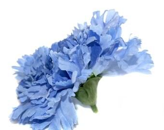 Artificial Carnation - 1 Large 2-Tone Blue Carnation - Silk Flowers, Artificial Flowers