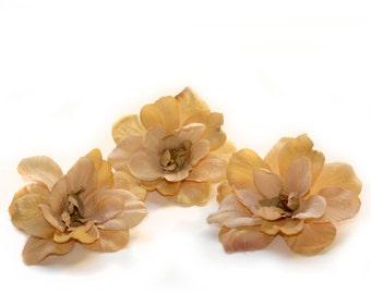 3 Light Antique Brown Silk Delphinium Blossoms - Artificial Flower Heads, Hair Flowers - PRE-ORDER