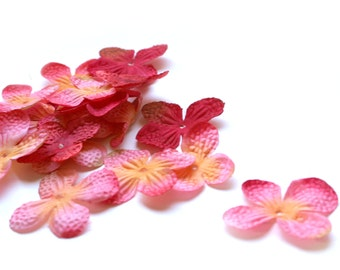 Hydrangea Blossoms - 100 Count in Popsicle Pink - Artificial Flowers, Silk Blossoms, Scrapbook Flowers - PRE-ORDER